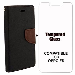 MOBIMON Mercury Diary Wallet Flip Case Cover for OPPO F5 Brown + Tempered Glass Premium Quality