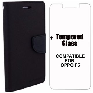 MOBIMON Mercury Diary Wallet Flip Case Cover for OPPO F5 Black + Tempered Glass Premium Quality