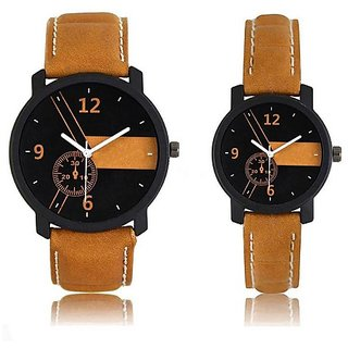 Varni Retail Trendy Brown Strap Lorem Men And Women Wrist Watch For Couple  Brown-LoremCoupleVR