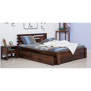 Venus Solid Wood Queen Size Bed with Storage