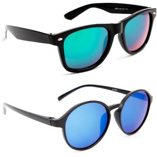 1a5c95102de Buy TheWhoop Combo UV Protected New Stylish Mirror Green Wayfarer And Blue  Round Goggle Sunglasses For Men