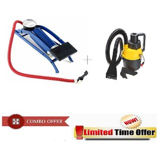 Special Combo Offer! Multi-Purpose Car Air  Foot Pump with Portable Blower Car Vacuum Cleaner - CMFOTCRV3
