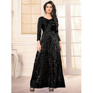 Greenvilla Designs Banglory Sattin Black Moti Work Bollywood Gown