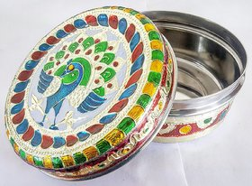 Satya Menakari Dabba Round Steel Box Container Steel Material Multicolor Home Dcor Gift Option