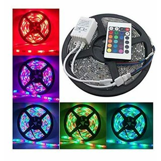 ReBuy 5 Meter Waterproof RGB Remote Control Electric LED Strip Light - Color Changing (Pack of 1) For Diwali