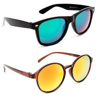 64c1e5610b Buy TheWhoop Combo UV Protected New Stylish Mirror Green Wayfarer And  Orange Round Goggle Sunglasses For Men