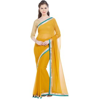 Florence Yellow Chiffon Embroidered Saree with Blouse