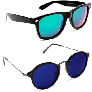 f00e0f18879b TheWhoop Combo UV Protected Stylish Mirror Green Wayfarer And Dark Blue  Round Goggle Sunglasses For Men , Women