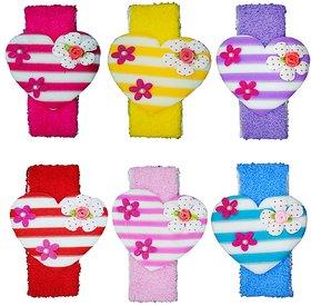 Crochet Cutwork Flower Baby Headband ( Red, Pink, Blue, Pink, Purple, Yellow ) 6 Pcs Set