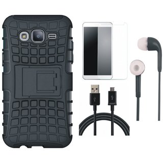 Samsung J7 Prime Shockproof Tough Armour Defender Case with Tempered Glass, Earphones and USB Cable
