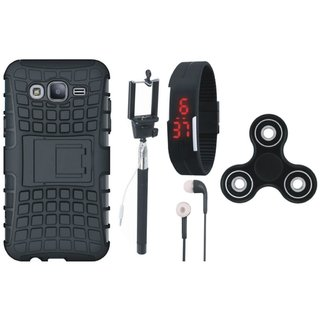 Samsung J7 Prime Defender Tough Armour Shockproof Cover with Spinner, Selfie Stick, Digtal Watch and Earphones