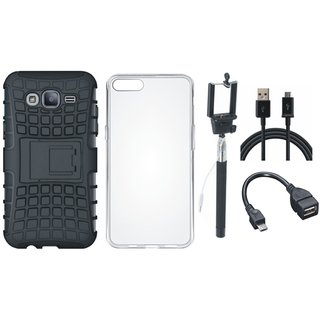 Samsung J7 Prime Shockproof Tough Armour Defender Case with Silicon Back Cover, Selfie Stick, OTG Cable and USB Cable