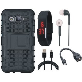 Samsung J7 Prime Shockproof Tough Armour Defender Case with Digital Watch, Earphones, OTG Cable and USB Cable
