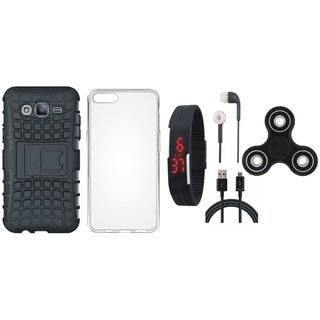Samsung J7 Prime Defender Tough Armour Shockproof Cover with Spinner, Silicon Back Cover, Digital Watch, Earphones and USB Cable