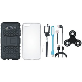 Samsung J7 Prime Defender Tough Armour Shockproof Cover with Spinner, Silicon Back Cover, Selfie Stick, Earphones, USB LED Light and USB Cable