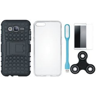 Samsung J7 Prime Defender Tough Armour Shockproof Cover with Spinner, Silicon Back Cover, Tempered Glas and USB LED Light