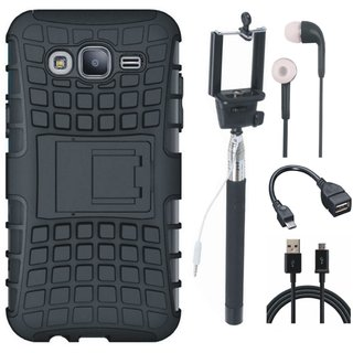 Moto G5 Defender Back Cover with Kick Stand with Selfie Stick, Earphones, OTG Cable and USB Cable