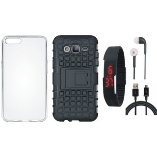 Samsung J7 Prime Shockproof Tough Armour Defender Case with Silicon Back Cover, Digital Watch, Earphones and USB Cable
