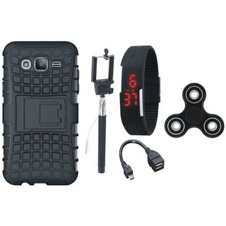 Moto G5 Defender Back Cover with Kick Stand with Spinner, Selfie Stick, Digtal Watch and OTG Cable