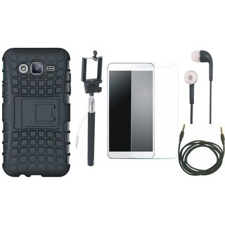 Moto G5 Defender Back Cover with Kick Stand with Free Selfie Stick, Tempered Glass, Earphones and AUX Cable