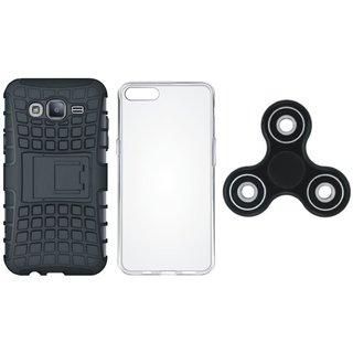 Samsung J7 Prime Shockproof Tough Armour Defender Case with Spinner, Silicon Back Cover, Free Silicon Back Cover