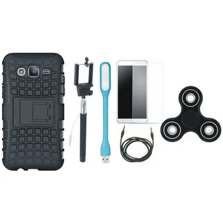 Samsung J7 Prime Shockproof Tough Armour Defender Case with Free Spinner, Selfie Stick, Tempered Glass, LED Light and AUX Cable