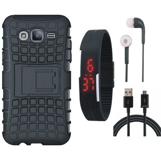 Samsung J7 Prime Shockproof Kick Stand Defender Back Cover with Digital Watch, Earphones and USB Cable