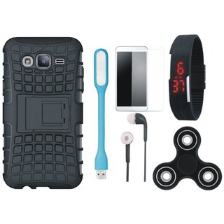 Samsung J7 Prime Shockproof Tough Armour Defender Case with Free Spinner, Digital LED Watch, Tempered Glass, LED Light and Earphones