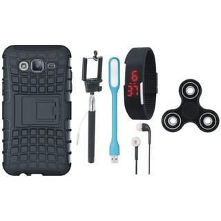 Samsung J7 Prime Shockproof Tough Armour Defender Case with Spinner, Selfie Stick, Digtal Watch, Earphones and USB LED Light