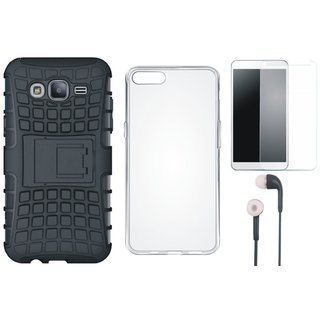 Samsung J7 Prime Shockproof Kick Stand Defender Back Cover with Silicon Back Cover, Tempered Glass and Earphones