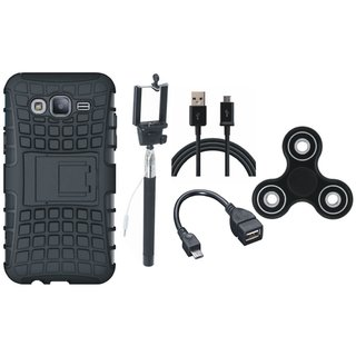 Samsung J7 Prime Dual Protection Defender Back Case with Spinner, Selfie Stick, OTG Cable and USB Cable