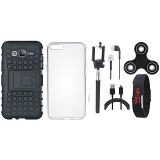 Samsung J7 Max Defender Tough Hybrid Shockproof Cover with Spinner, Silicon Back Cover, Selfie Stick, Digtal Watch, Earphones and USB Cable