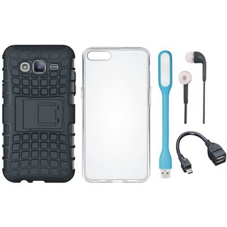 Samsung J7 Max Defender Tough Armour Shockproof Cover with Silicon Back Cover, Earphones, USB LED Light and OTG Cable