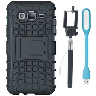 Oppo F5 Defender Back Cover with Kick Stand with Selfie Stick and USB LED Light