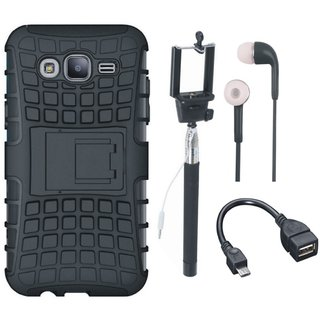 Oppo F5 Defender Back Cover with Kick Stand with Selfie Stick, Earphones and OTG Cable