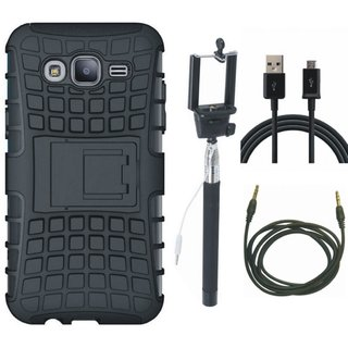 Oppo F5 Defender Back Cover with Kick Stand with Selfie Stick, USB Cable and AUX Cable
