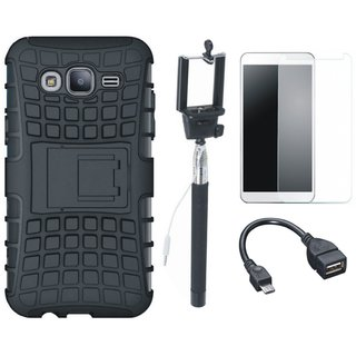 Samsung J7 Max Defender Tough Armour Shockproof Cover with Free Selfie Stick, Tempered Glass and OTG Cable