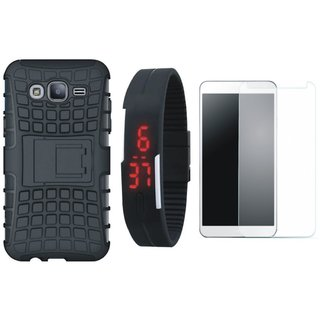Samsung J7 Max Defender Tough Armour Shockproof Cover with Free Digital LED Watch, Tempered Glass and LED Light