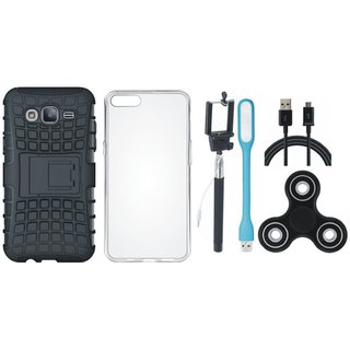 Oppo F5 Dual Protection Defender Back Case with Spinner, Silicon Back Cover, Selfie Stick, USB LED Light and USB Cable