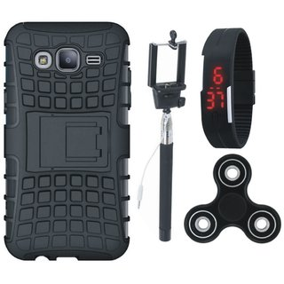 Samsung J7 Max Defender Tough Armour Shockproof Cover with Spinner, Selfie Stick and Digtal Watch