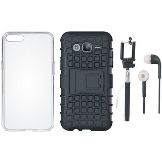 Oppo F5 Defender Back Cover with Kick Stand with Silicon Back Cover, Selfie Stick and Earphones