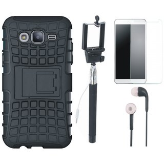 Oppo F5 Defender Back Cover with Kick Stand with Free Selfie Stick, Tempered Glass and Earphones