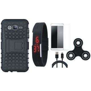 Samsung J7 Max Defender Tough Armour Shockproof Cover with Free Spinner, Digital LED Watch, Tempered Glass and USB Cable