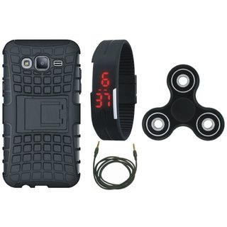 Oppo F5 Defender Back Cover with Kick Stand with Spinner, Digital Watch and AUX Cable