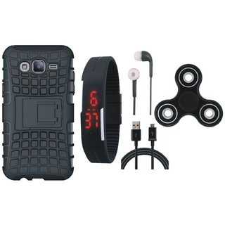 Samsung J7 Max Defender Tough Armour Shockproof Cover with Spinner, Digital Watch, Earphones and USB Cable
