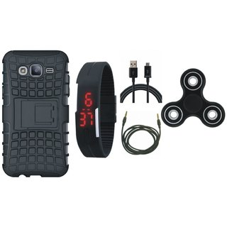 OnePlus 3T Defender Tough Armour Shockproof Cover with Spinner, Digital Watch, USB Cable and AUX Cable