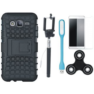 Oppo F5 Defender Back Cover with Kick Stand with Free Spinner, Selfie Stick, Tempered Glass, and LED Light