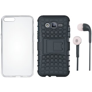 Oppo F5 Shockproof Tough Defender Cover with Silicon Back Cover and Earphones