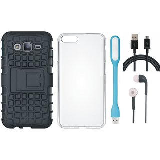 Samsung J7 Max Shockproof Tough Armour Defender Case with Silicon Back Cover, Earphones, USB LED Light and USB Cable