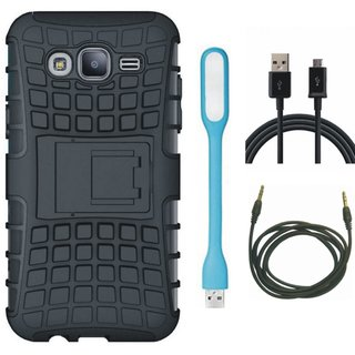 Samsung J7 Max Shockproof Tough Armour Defender Case with USB LED Light, USB Cable and AUX Cable